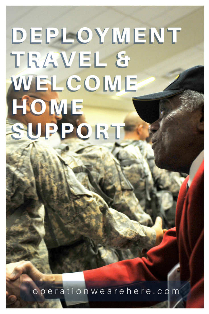 Deployment travel and welcome home support; free Welcome Home banners