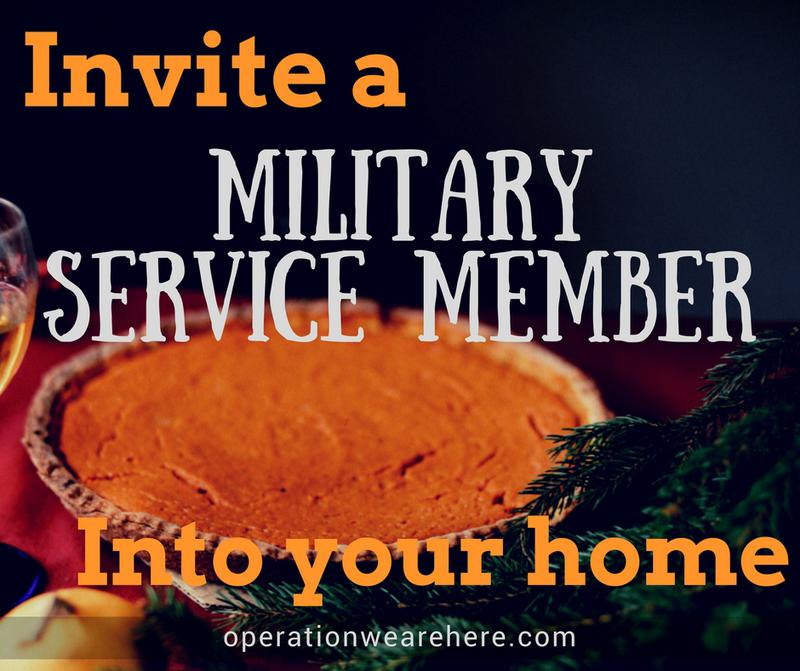 Opportunities to invite a military service member into your home for Thanksgiving.