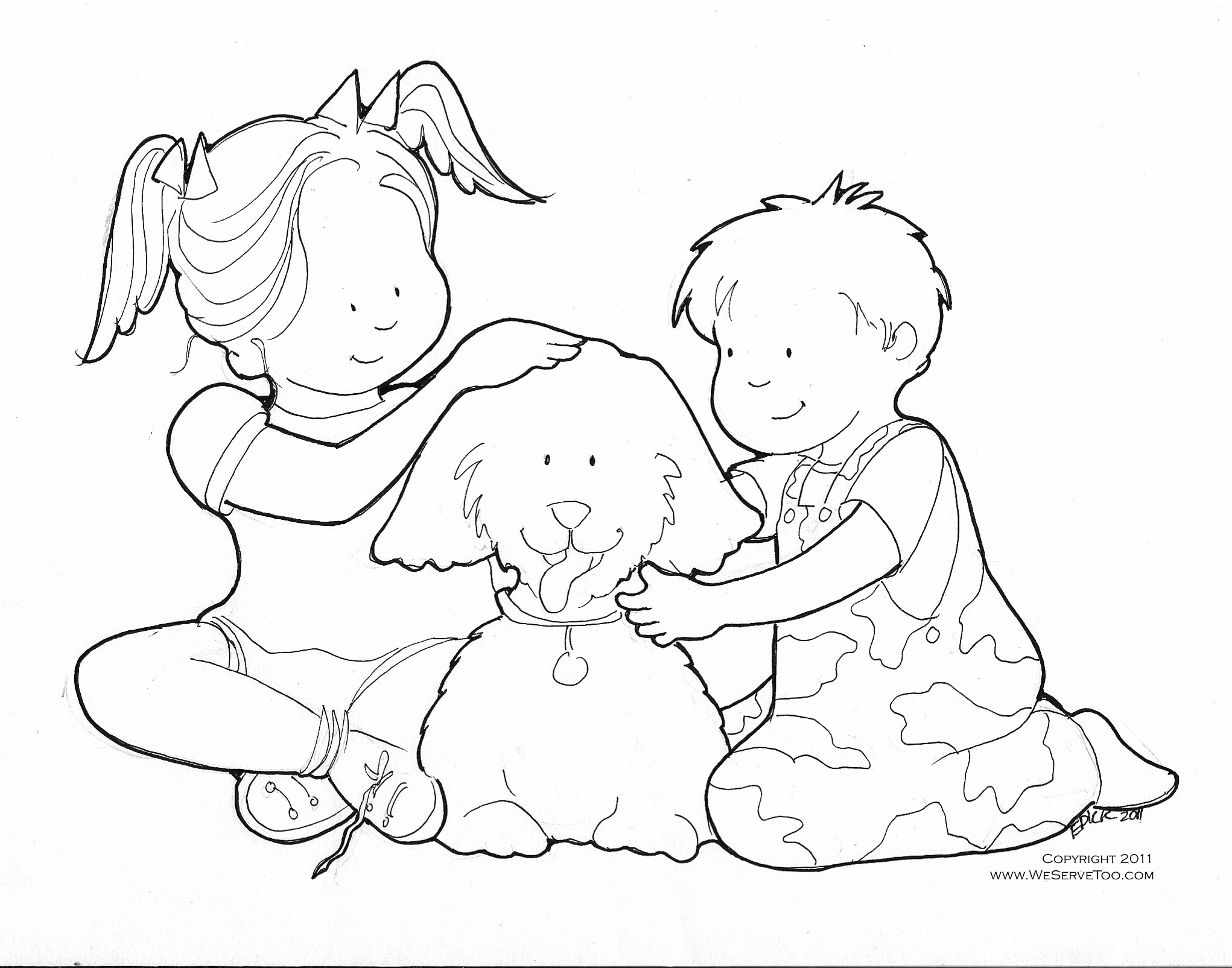 coloring pages children helping - photo#28